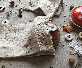 Úžitkový textil - Vrecko na chlieb z hrubého ľanového plátna - 8998664_