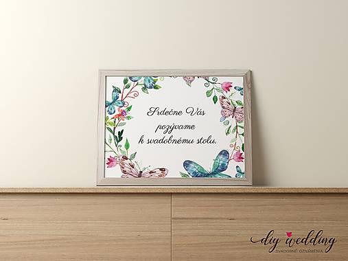 Pozvanie k svadobnému stolu Motýle
