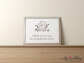 Papiernictvo - Pozvanie k svadobnému stolu Vrabčeky - 9002153_
