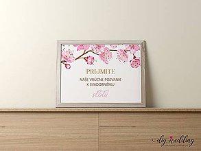 Papiernictvo - Pozvanie k svadobnému stolu Čerešňový sad - 9002162_