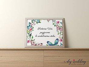 Papiernictvo - Pozvanie k svadobnému stolu Motýle - 9002169_