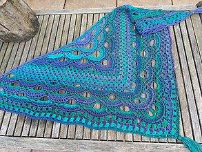 Šatky - Háčkovaná šatka GREENOLET (green+violet) - 9000554_