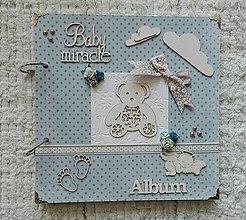 Papiernictvo - Modrý fotoalbum pre chlapčeka s macom :) - 9000891_