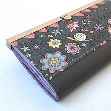 Peňaženky - Zahrada šedá - rámečková peněženka - 9002724_