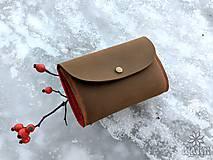 Peňaženky - Kožená peňaženka VIII. aj na veľké doklady - khaki - 9002992_