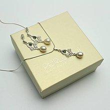 Sady šperkov - Perlová souprava se safírem, řetízek, Ag 925 - 9003447_