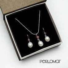 Sady šperkov - Perlová souprava s granáty, řetízek, Ag 925 - 9003448_