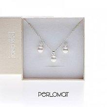 Sady šperkov - Perlový set se zirkony bílý, šroubky+řetízek Ag 925 - 9003451_