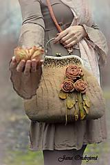 Kabelky - Vintage hodvábno-vlnená kabelka vo farbe starého zlata - 9001702_