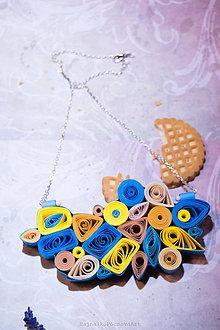 Náhrdelníky - Modro-žltý quilling náhrdelník - 9003047_