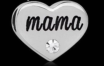 Korálky - Luxusná pandorková korálka srdiečko MAMA so štrasovým kamienkom - 9001318_