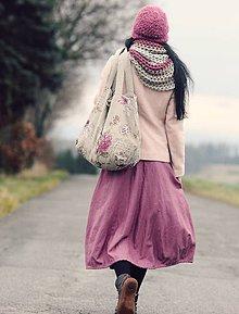 Sukne - Lněná růžovofialová - 9003227_