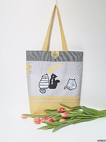 Nákupné tašky - Mákupná taška - zaľúbené mačičky - 8999865_