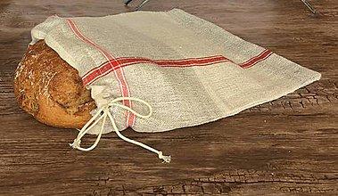 Úžitkový textil - Vidiecke ľanové vrecúško na chlieb - 9001571_