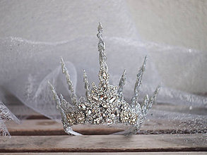 Ozdoby do vlasov - ledová koruna bohatě zdobená štrasem - 9001119_