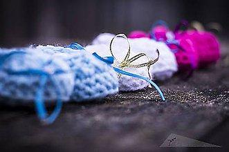 Topánočky - Babydream biele (podla objednávky - Modré) - 9005079_