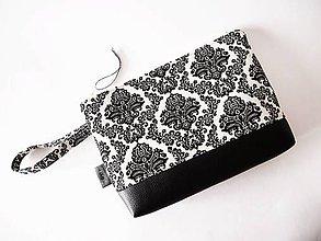 Taštičky - Toaletná taška veľká - čierny ornament - 9006072_