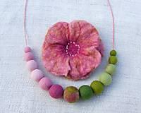 Sady šperkov - ...plstený set - náhrdelník s brošňou... - 9006196_