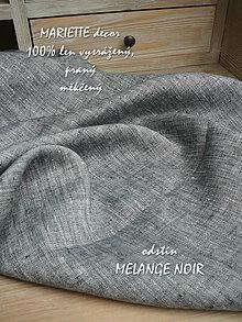 Textil - 100% len metráž, 190g/m2...odstín MELANGE NOIR - 9005757_