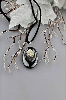 Náhrdelníky - Hematit striebro a perly prívesok - 9006804_