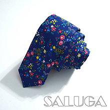 Doplnky - Pánska slim kvetinová kravata - folk - tmavá modrá - 9005426_