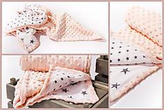 Minky deka celoročná 100x75cm Light Apricot & stars