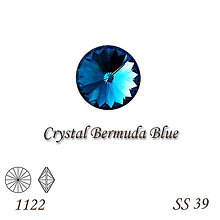 Korálky - SWAROVSKI® ELEMENTS 1122 Rivoli - Crystal Bermuda Blue, SS 39(8mm), bal.1ks - 9006973_