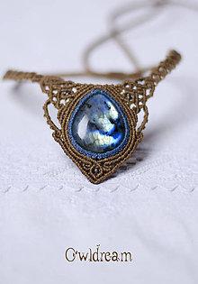 Náhrdelníky - Makramé náhrdelník Labradorit •Ľadová kráľovna• - 9005551_