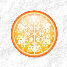 Dekorácie - Vločkové citrusy - grafika na zdobenie koláčov (pomarančový) - 9006253_