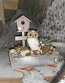 Dekorácie - Zimná dekorácia so sovičkou - 9009964_