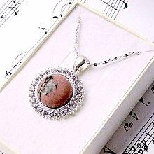 Náhrdelníky - Swarovski Crystal & Gemstones Necklace / Náhrdelník so swarovski krištálikmi a minerálom /0414 (Rodonit) - 9007279_