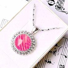 Náhrdelníky - Swarovski Crystal & Gemstones Necklace / Náhrdelník so swarovski krištálikmi a minerálom /0414 (Ružový achát pásikavý) - 9007284_