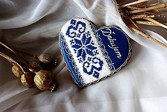 Dekorácie - Srdce s krížikovou výšivkou - 9009105_