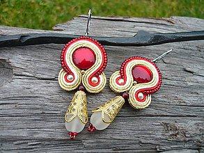 Náušnice - Soutache Náušnice Red gold Elegant - 9010955_