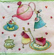 Papier - S1098 - Servítky - čaj, víla, princezná, torta, malina, srdce, láska - 9009088_