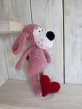 Hračky - Ružový psíček so srdiečkom - 9008764_