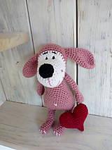 Hračky - Ružový psíček so srdiečkom - 9008766_
