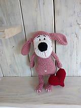 Hračky - Ružový psíček so srdiečkom - 9008767_