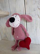 Hračky - Ružový psíček so srdiečkom - 9008768_