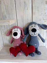 Hračky - Ružový psíček so srdiečkom - 9008770_