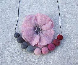 Sady šperkov - ...plstený set - náhrdelník s brošňou... - 9010170_