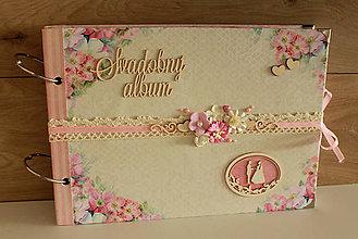 Papiernictvo - svadobný album_ ružové kvety - 9011171_
