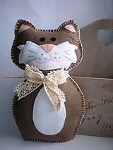 Ručne šité zvieratká (Mačička s čipkou)