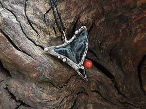 Náhrdelníky - Raja (pavúčí obsidián) - 9007703_