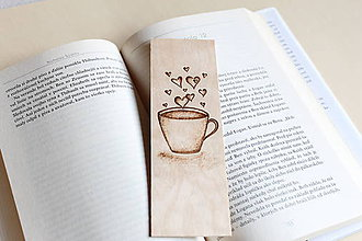 "Papiernictvo - Drevená záložka do knihy ""Kávová romanca"" - 9009489_"