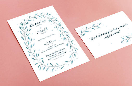 Svadobné oznámenie s vetvičkami