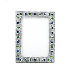"""Rámiky - Kovový patinovaný rám s """"drahokamami"""" a textúrovaným povrchom - modrá&biela - 9007688_"""