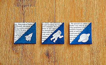 Papiernictvo - Recyklované záložky do knihy - sada 3ks (Vesmír) - 9008656_