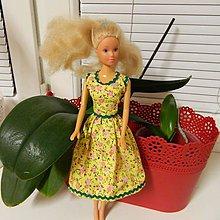 Hračky - žlté kvietkované šaty pre Barbie - 9010942_