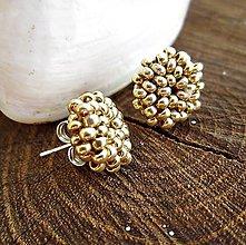 Náušnice - malé milé zlaté - 9009747_